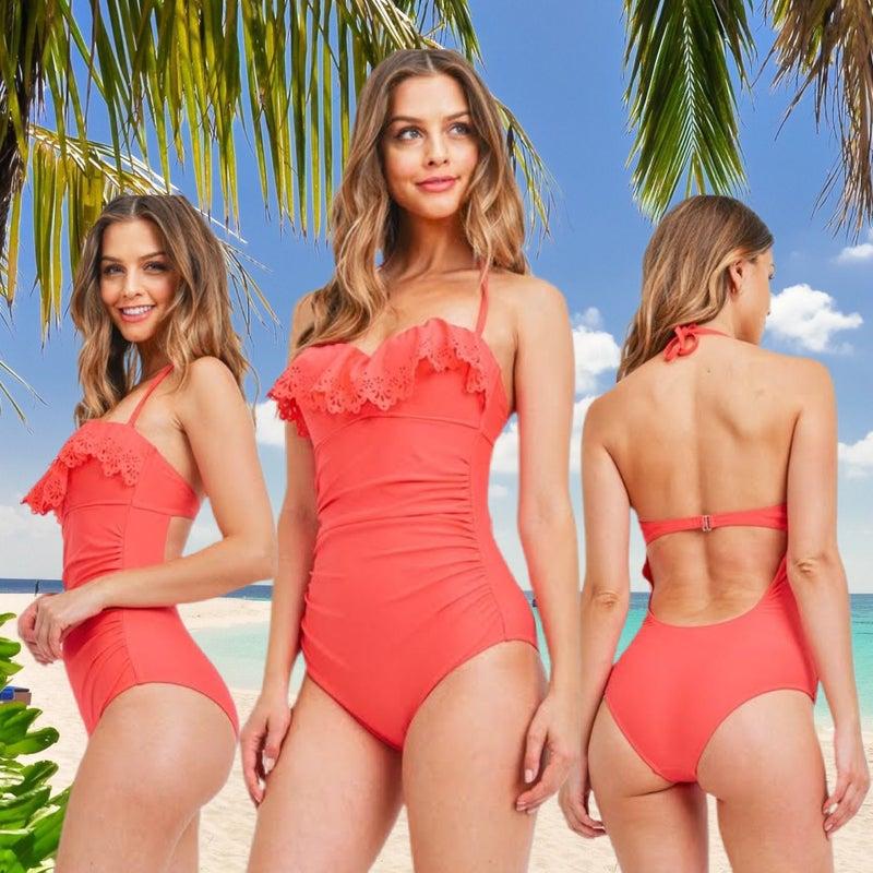 Aruba Jamaica Ohh I wanna Take Ya Coral Bathing Suit *Final Sale*