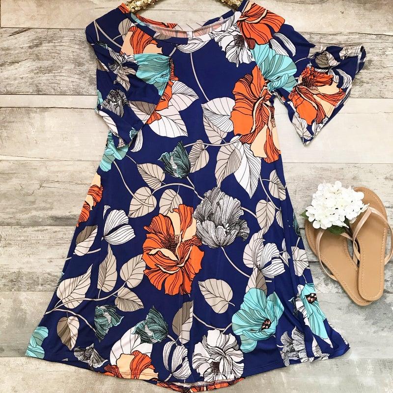 Blue Orange Floral Dress