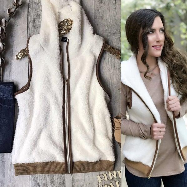 Ivory Camel Fleece Vest