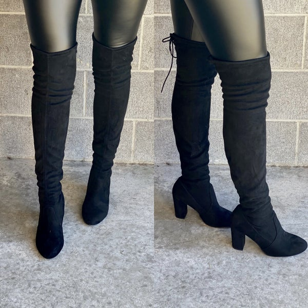Black Faux Suede Chunky Thigh High Boots