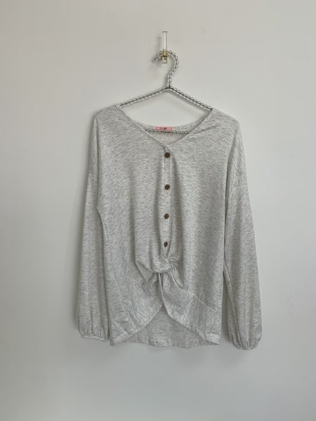 Button Down Front Twist Long Sleeve Top