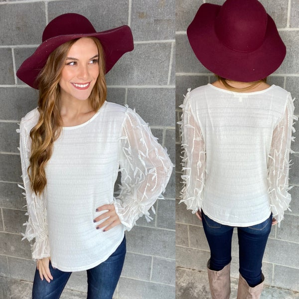 White Feather Sleeve Top