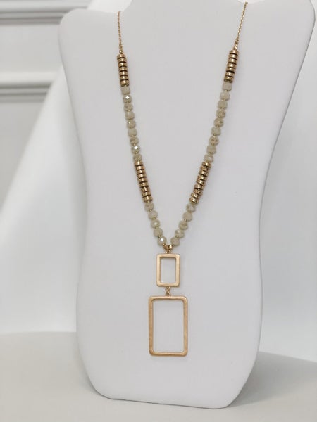 Two Squares Statement Long Necklace