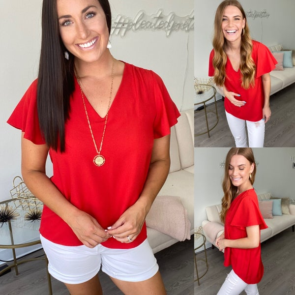 Hearts-a-Flutter V-Neck Top