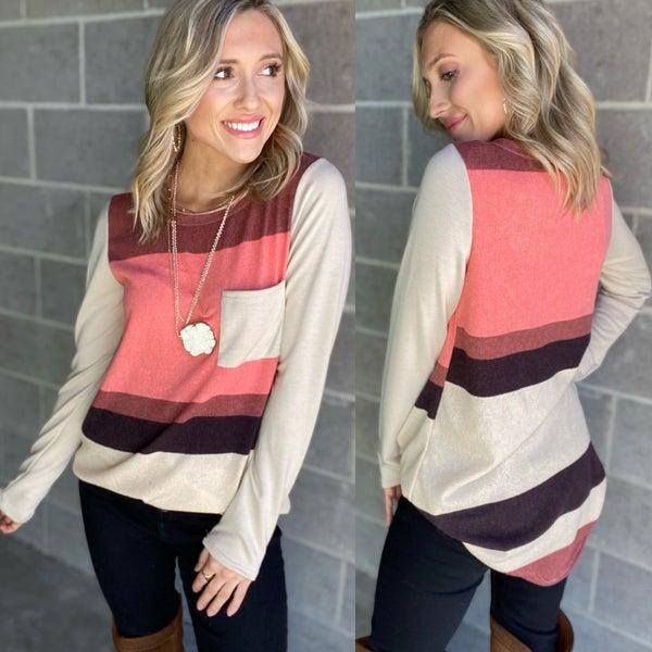 multi Color Stripe Pocket Top