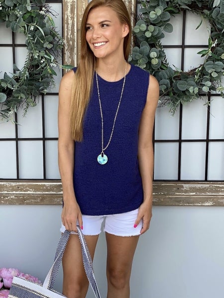 Sail Away Navy Knit Top