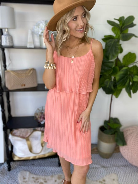 Pleated and Peachy Dress