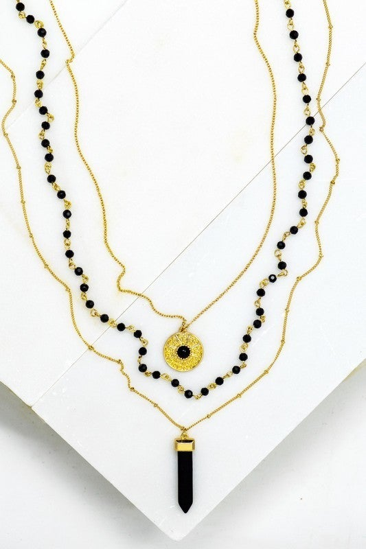 LAYERED BEADED CHAIN, COIN AND BLACK ONYX STONE