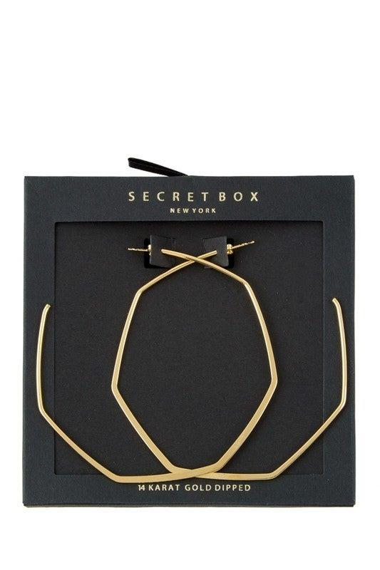 Hexagon Post Hoop Earrings
