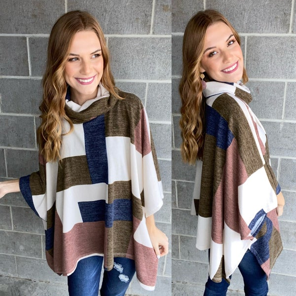 PLAID PRINT COWL NECK DOLMAN SLEEVE