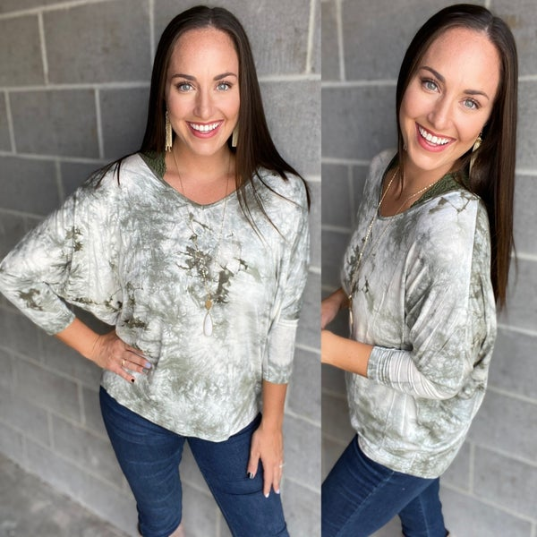 Tie Dye V-neck Long Sleeve Top