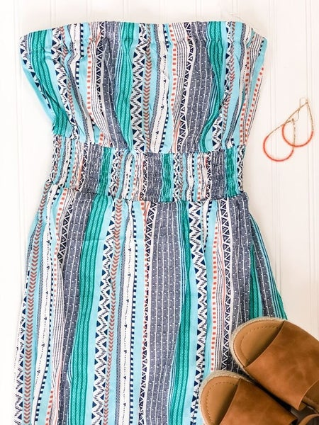 All About Aztec Print Strapless Maxi Dress