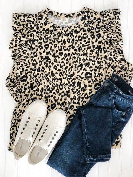 Caturday Leopard Print Ruffle Sleeve Tee