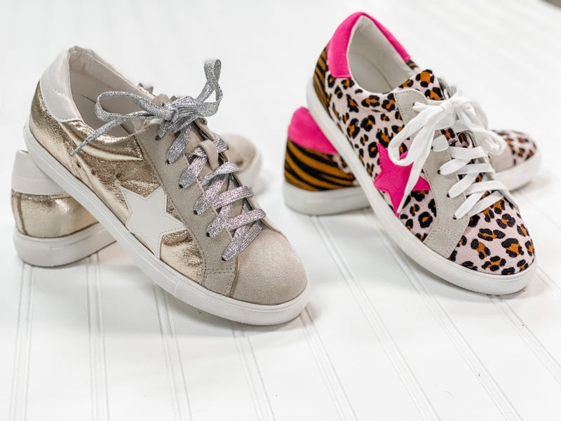 Star Strut Sneaker in Leopard and Metallic
