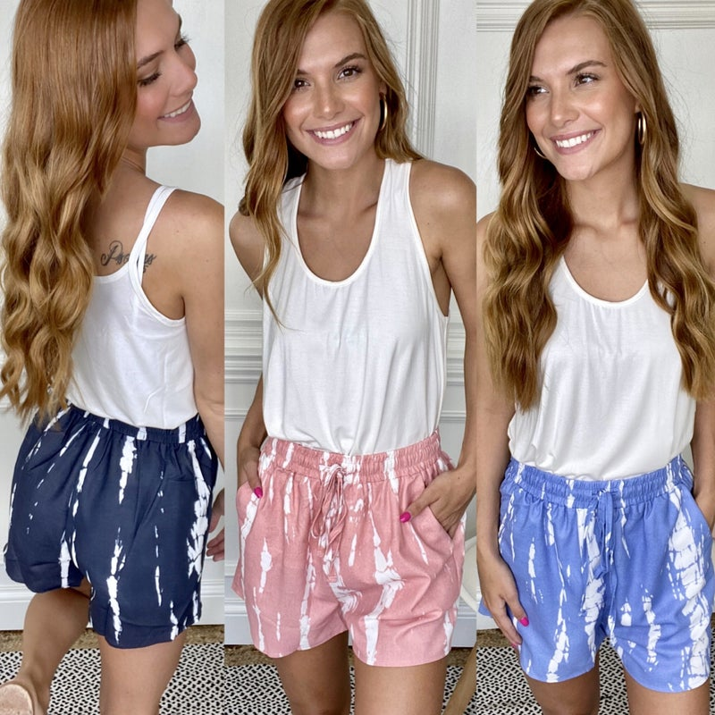 Seaside Stripe Tie Dye Shorts