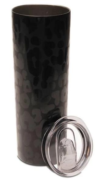 Skinny Black Leopard Tumbler