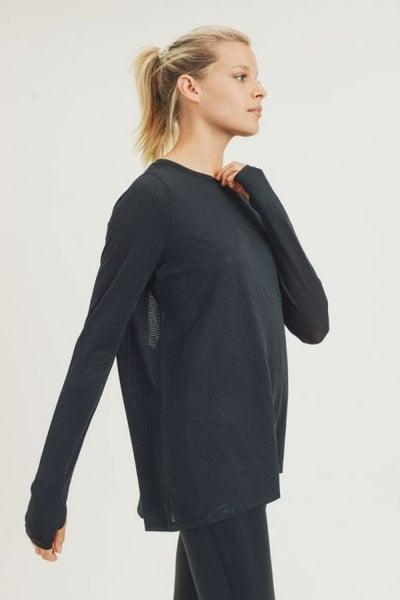Sheer Striped Mesh Long Sleeve Active Top