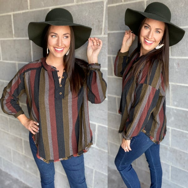Multi Striped Henley Neck Top