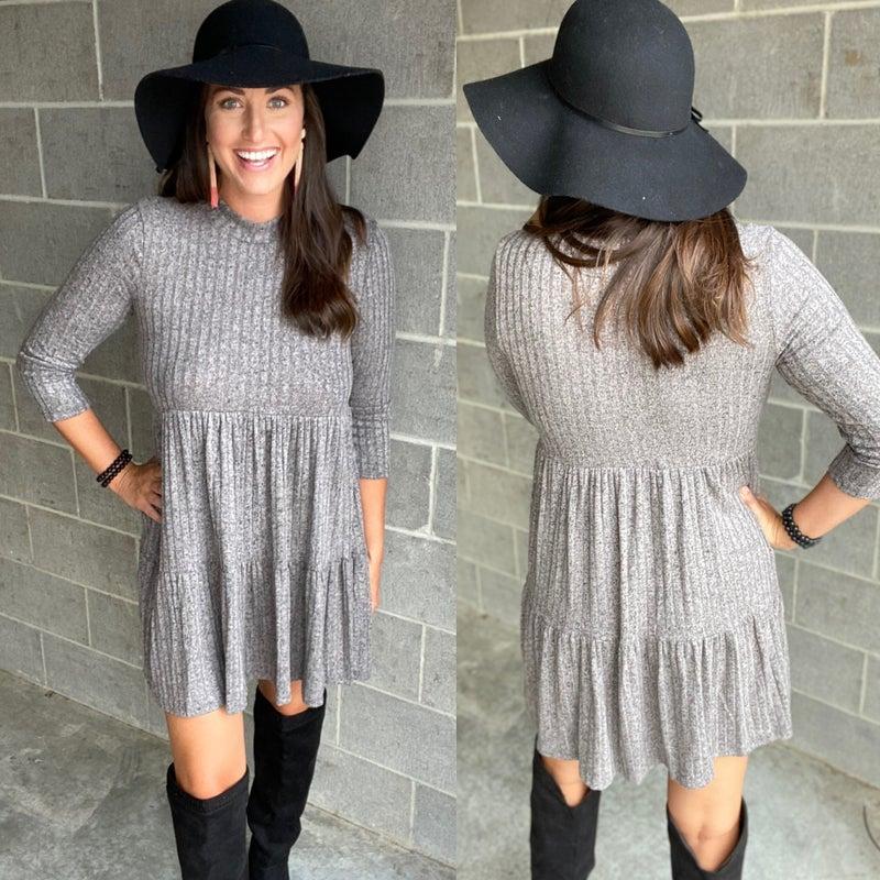Ribbed Babydoll Sweater Dress