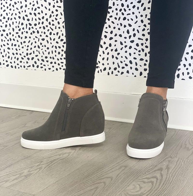 Zip and Wedge Sneakers   2 Colors