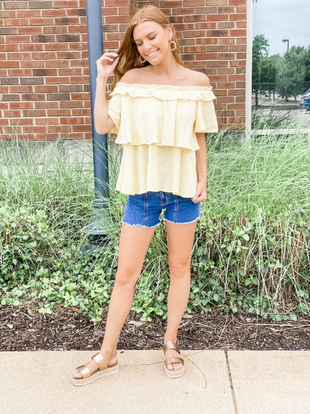 Lemon ChaCha Ruffle Top