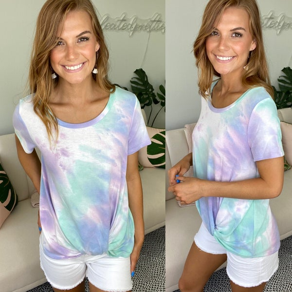In the Clouds Knot Front Tie Dye Top