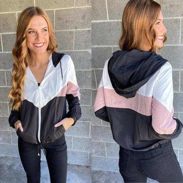 Color Blocked Hooded Zip Up Windbreaker Jacket