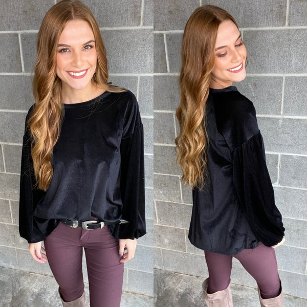 Velvet Top with Puffy Sleeves