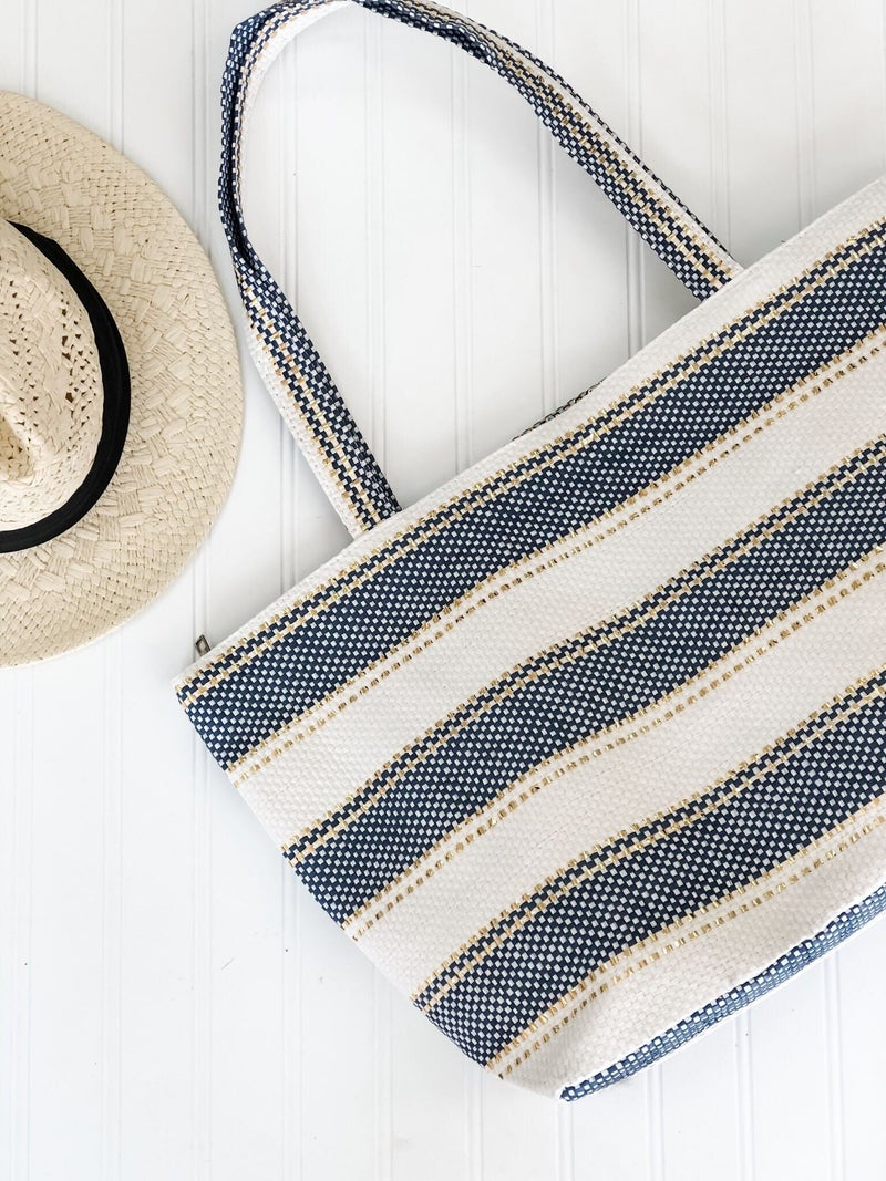 Navy, Gold, and White Stripe Beach Tote