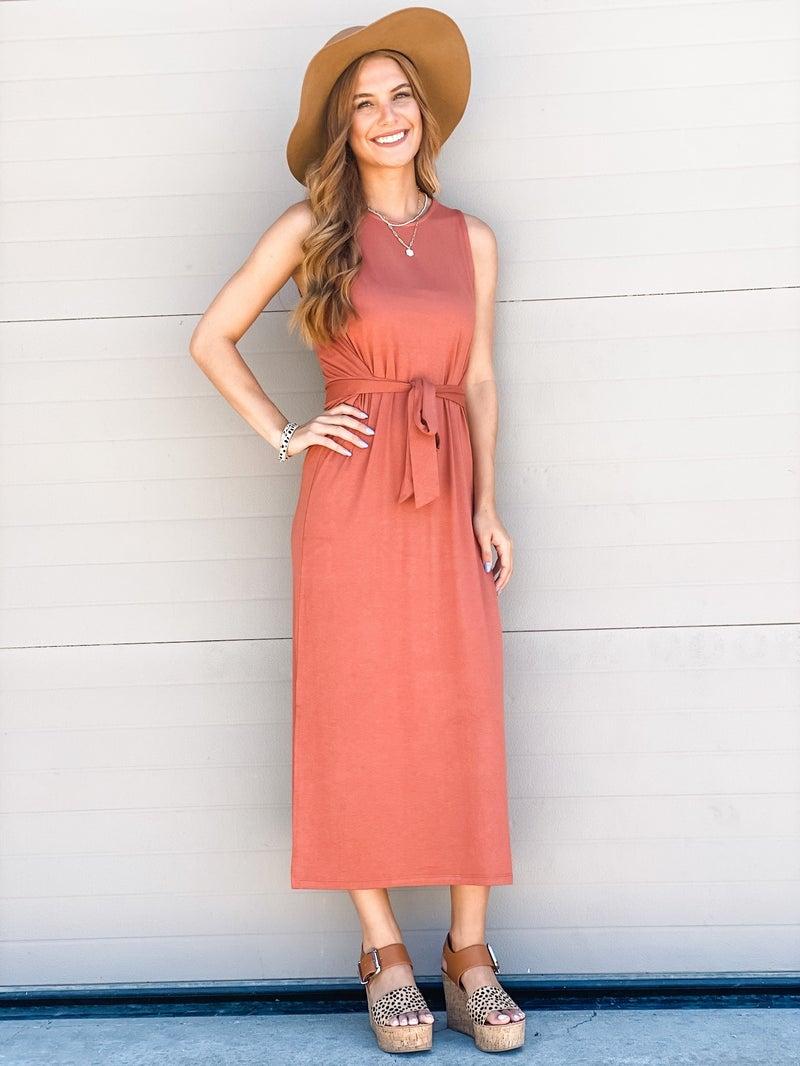 Follow My Lead Dress -Rust