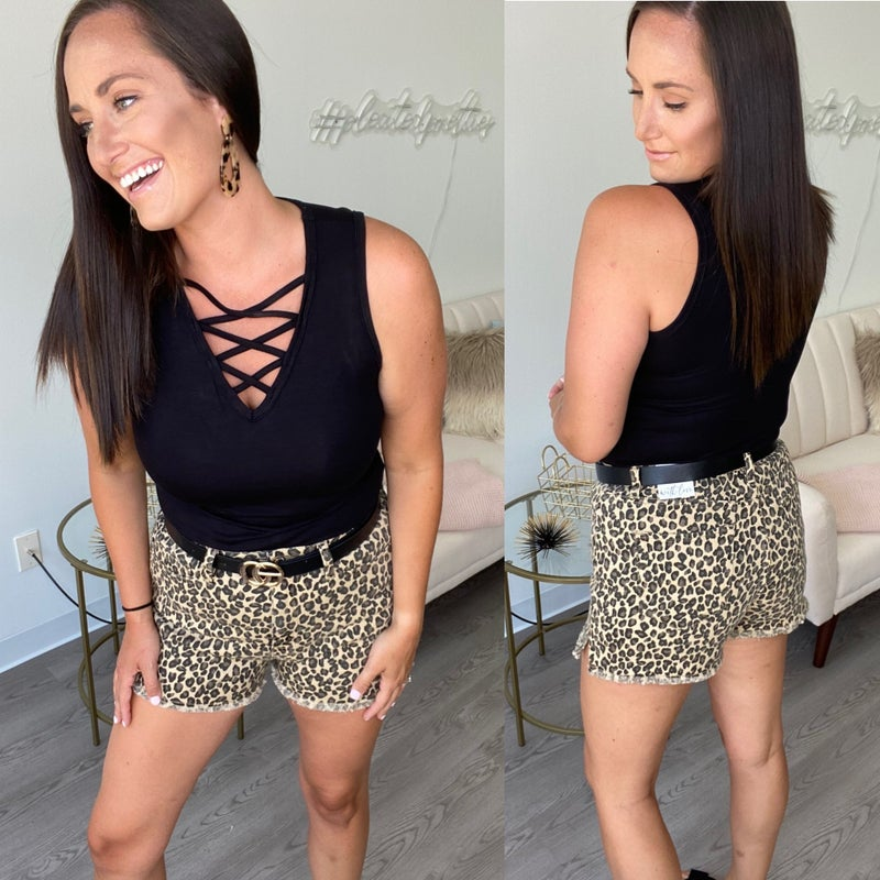 Into the Wild Leopard Denim Shorts