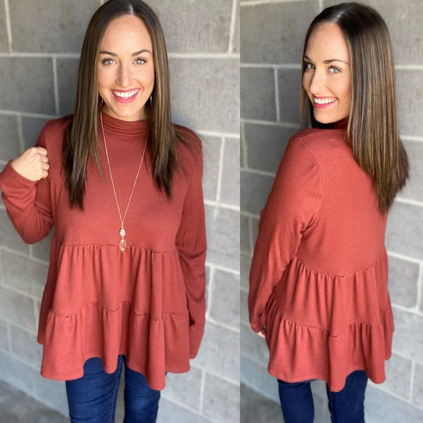 Solid tiered ribbed turtleneck long sleeve babydoll top