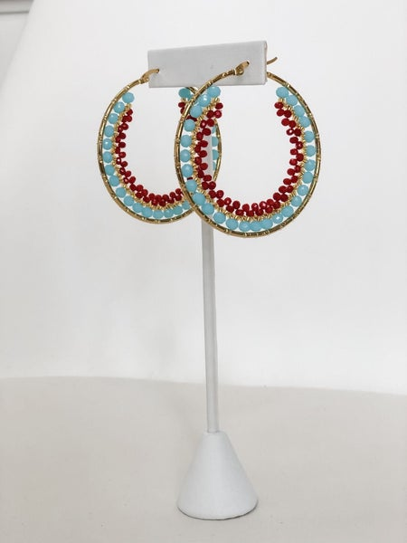 Red and Turquoise Beaded Hoops