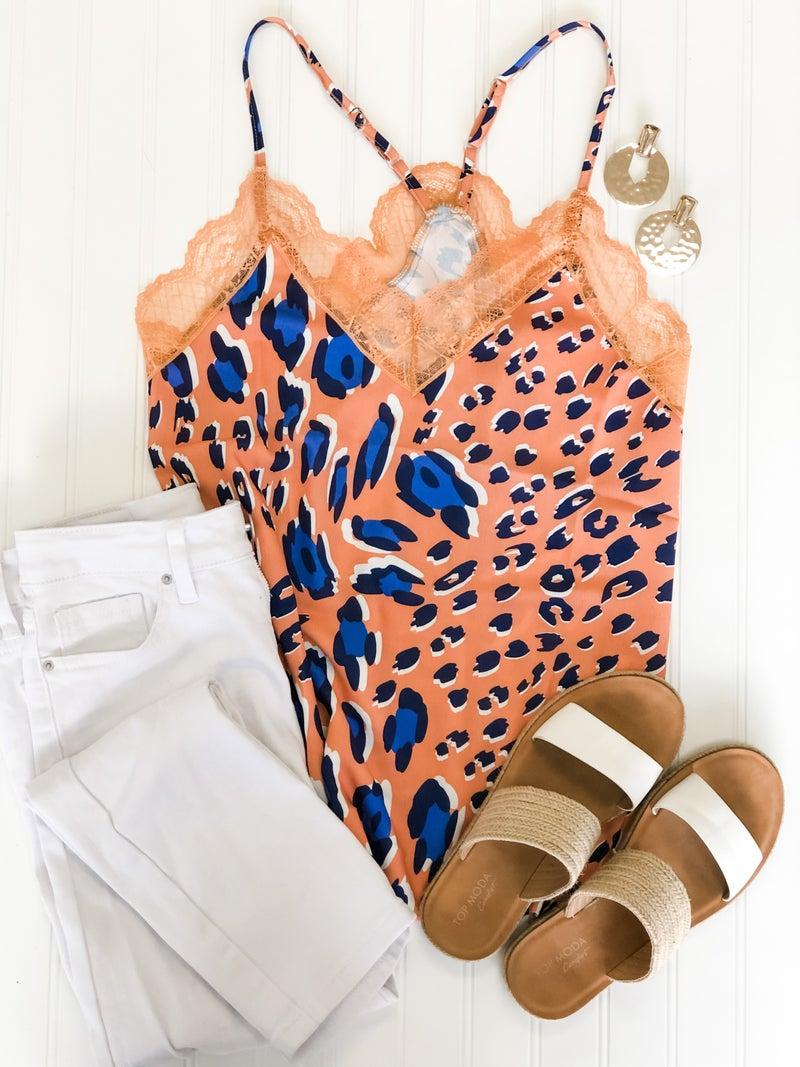Just Peachy Cheetah Print Lace Cami