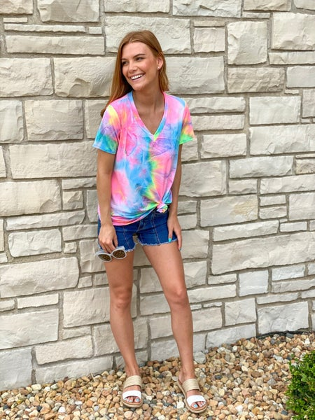 Electric Rainbow Tie Dye Tee