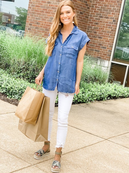 Casual Friday Chambray Top