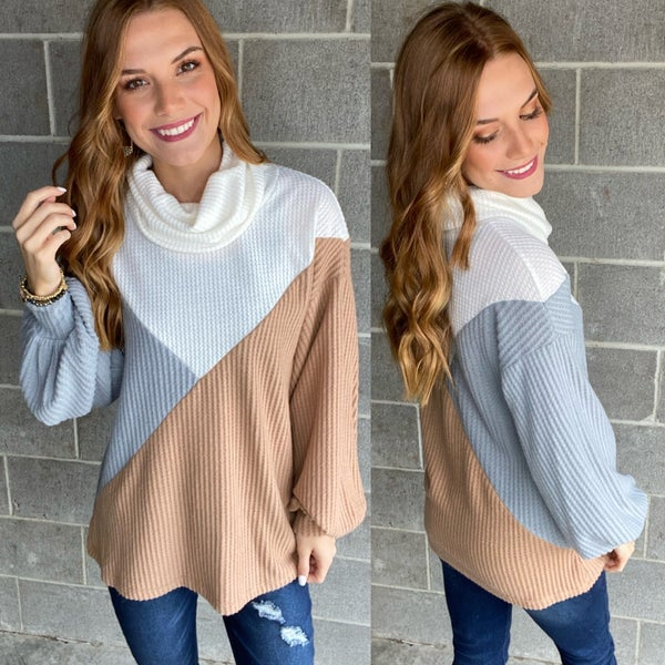 Color Block Waffle Brushed Knit Funnel Turtle Neck Cuffed Long Sleeves Top