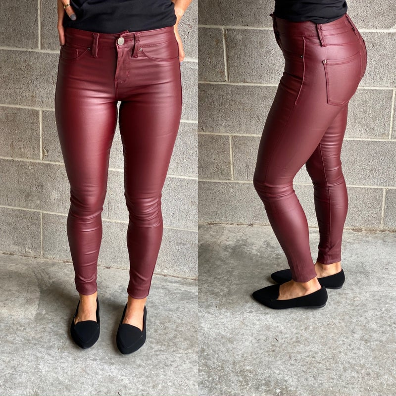 Burgundy Leather Mid-Rise Hyper Stretch Coated Skinny