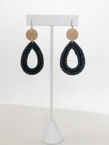 Black and Gold Woven Earrings