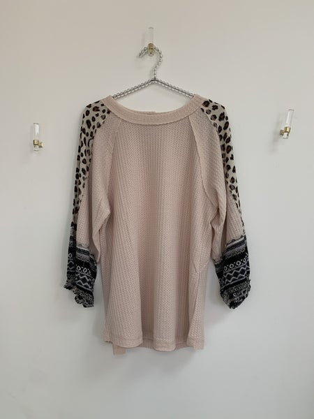 - Animal Mixed Print Waffle Knit Top
