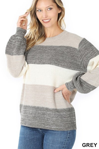 Melange Color Block Balloon Sleeve Sweater