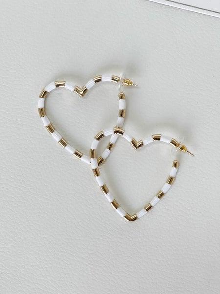 Striped Heart Hoop Earrings