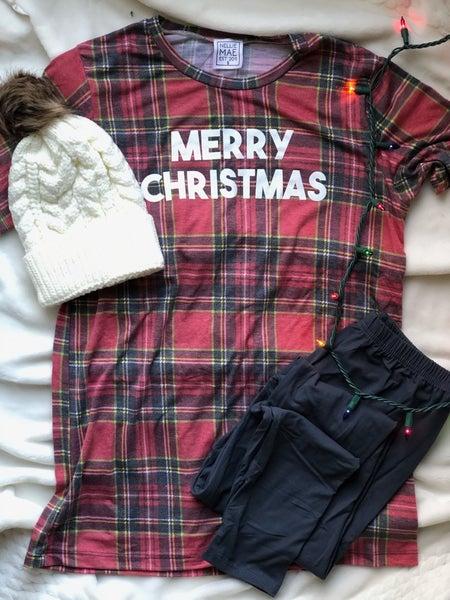 Winter Plaid - Merry Christmas Tee