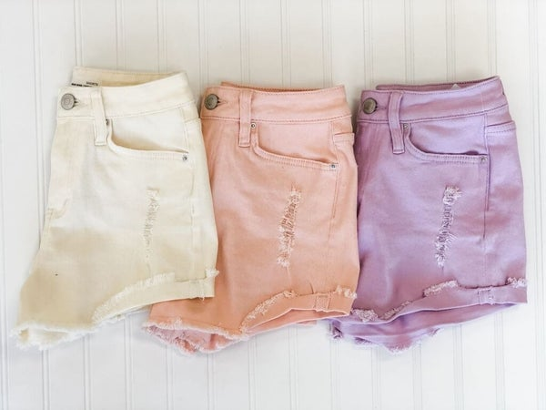 Pretty in Pastel Denim Shorts