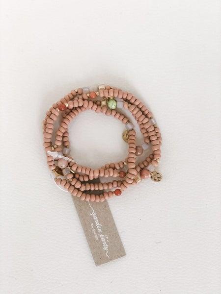 Tan Beaded Bracelet Set