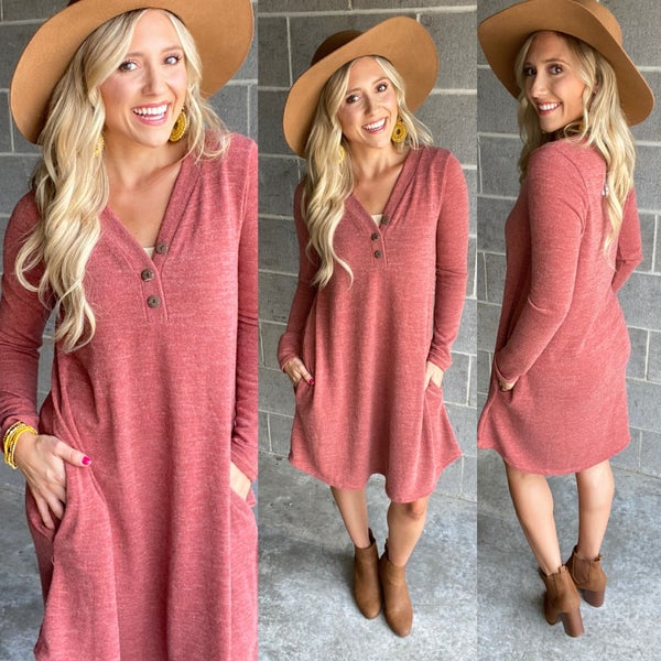 Rust Pocket Sweater Dress