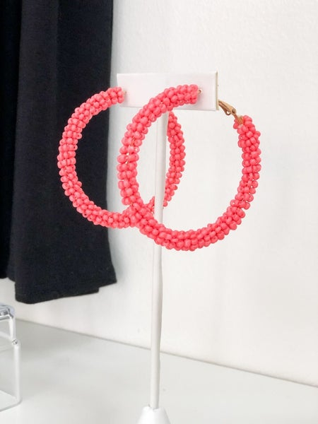 Coral Beaded Hoop Earrings