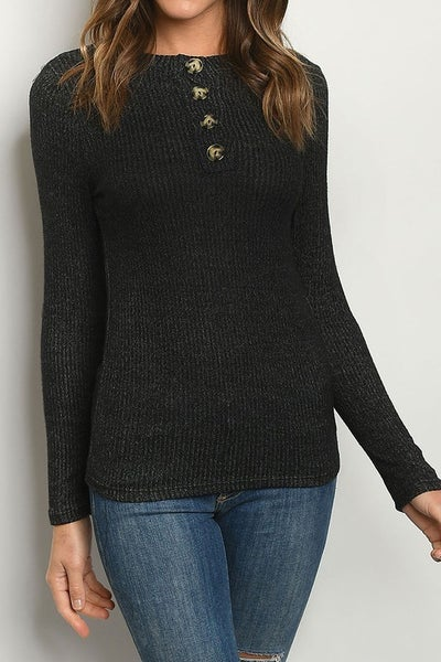 Crew Neck Button Ribbed Knit Top
