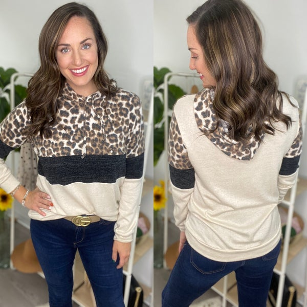 LEOPARD CASHMERE FEEL COLOR BLOCK HOODIE