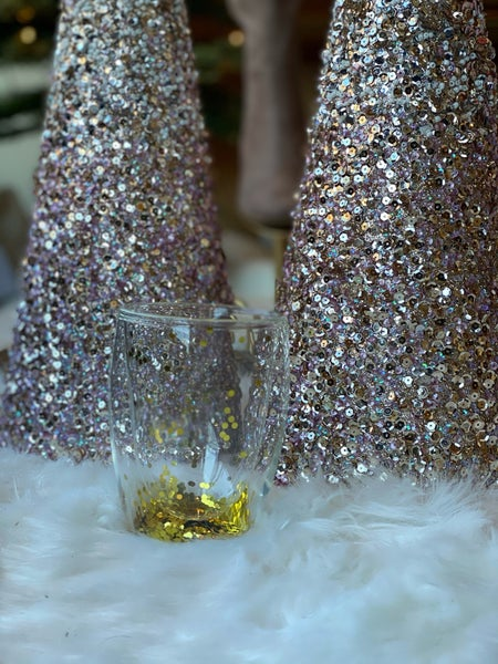 Gold Glitter Wine Glass